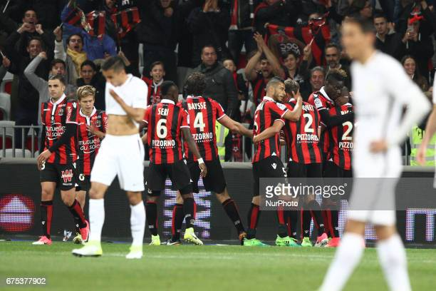 Nice forward Mario Balotelli celebrates with his teammates after scoring his goal during the Ligue 1 football match n35 OGC NICE PARIS SG on at the...