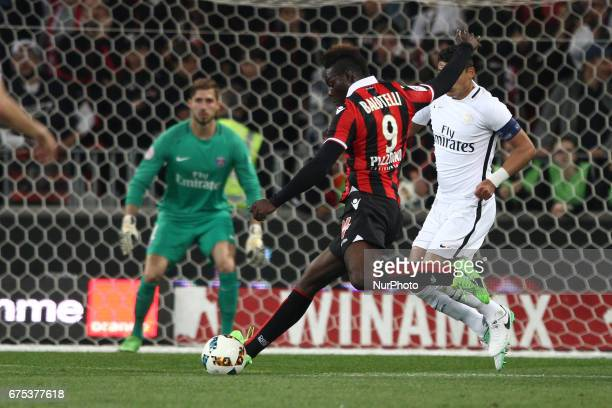 Nice forward Mario Balotelli scores his goal during the Ligue 1 football match n35 OGC NICE PARIS SG on at the Allianz Riviera in Nice France