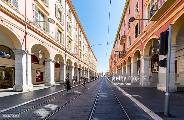Nice, France city centre tram tracks