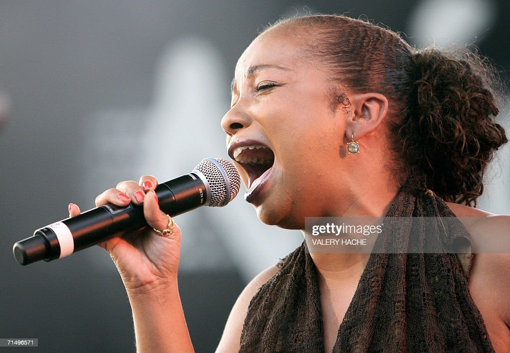 One of the singer of US band Daughters of Soul performs on