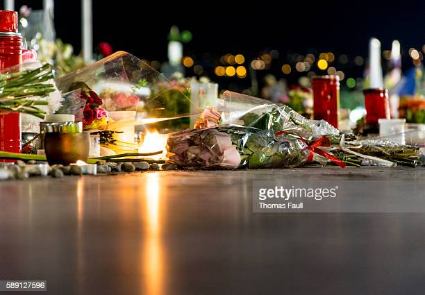 nice, france terrorist attack memorial detail - terrorism stock pictures, royalty-free photos & images