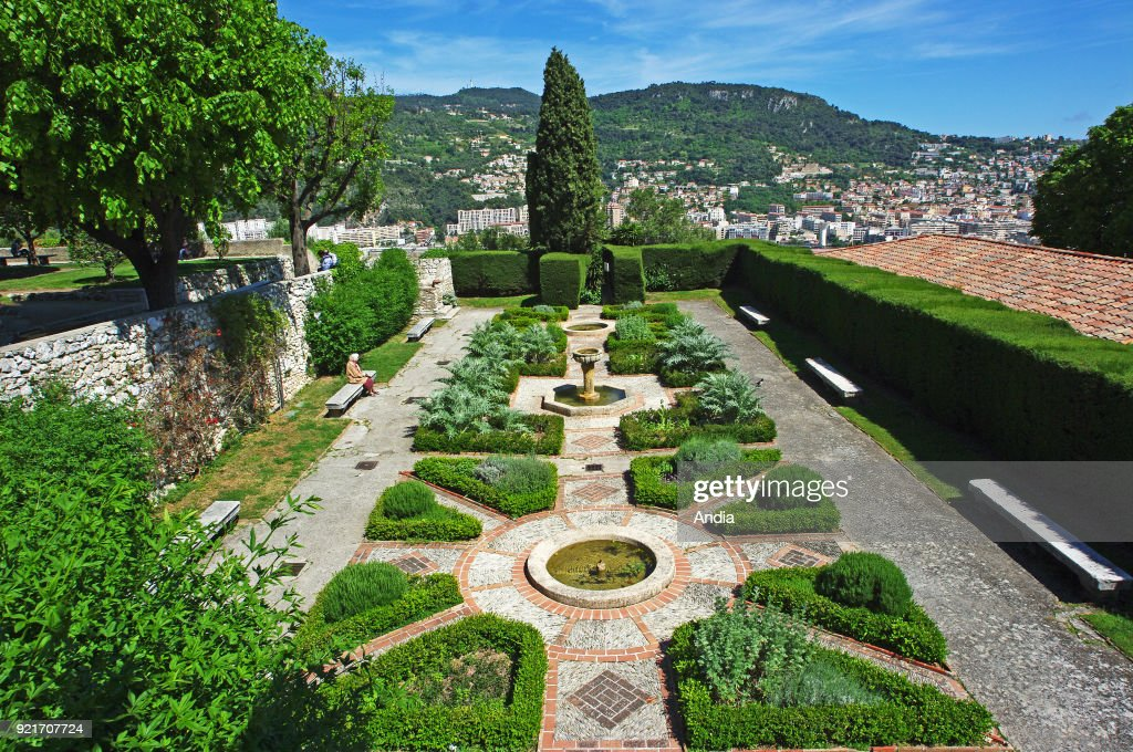 Nice (south eastern France, French Riviera): garden of the Franciscan Monastery of Cimiez. The building is classified as a French National Historic Landmark ('Monument Historique').