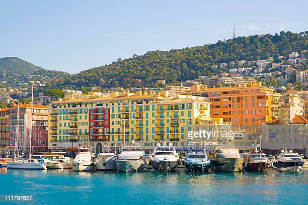 nice harbour, cote d'azur, france - nice stock photos and pictures
