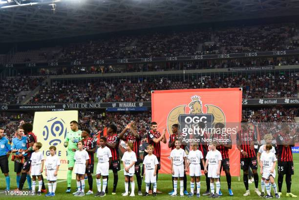 Nice line up during the Ligue 1 match between OGC Nice and Olympique de Marseille on August 28, 2019 in Nice, France.