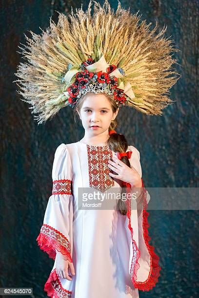 nice little girl in traditional folk costume - little russian girls stock photos and pictures