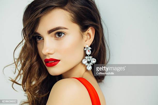Nice looking woman with beautiful earings
