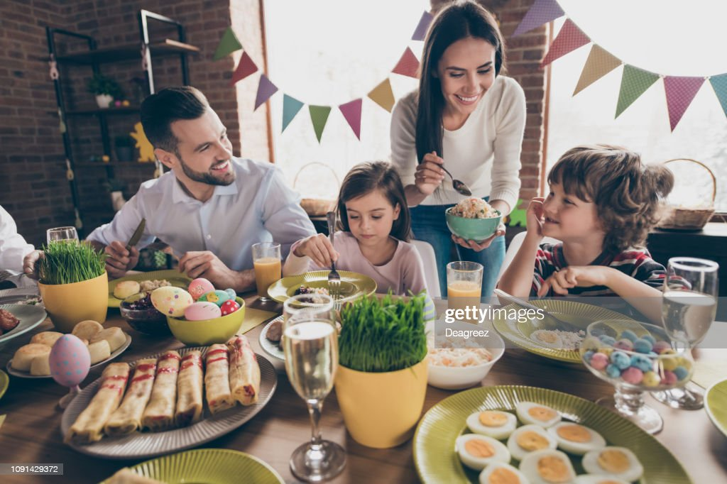 Nice lovely friendly cheerful positive family married spouses hu : Stock Photo