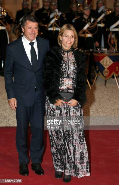 Nice mayor Christian Estrosi and his wife Laura Tenoudji arrive at the Elysee Presidential Palace for a state dinner with French President Emmanuel...