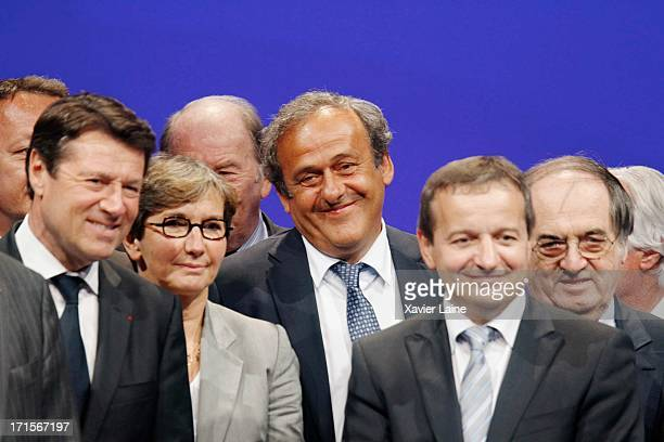 Nice mayor Christian Estrosi French Sports Minister Valerie Fourneyron UEFA President Michel Platini Saint Etienne Mayor Maurice Vincent and French...