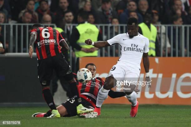 Nice midfielder Valentin Eysseric tackles Paris SaintGermain midfielder Marco Verratti during the Ligue 1 football match n35 OGC NICE PARIS SG on at...