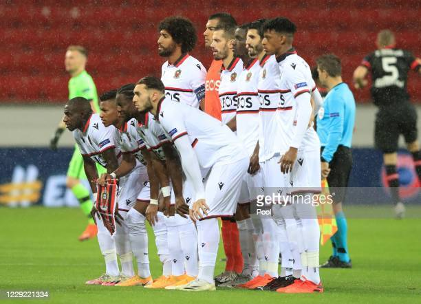 Nice players players pose for a team group photo ahead of the UEFA Europa League Group C stage match between Bayer 04 Leverkusen and OGC Nice at...