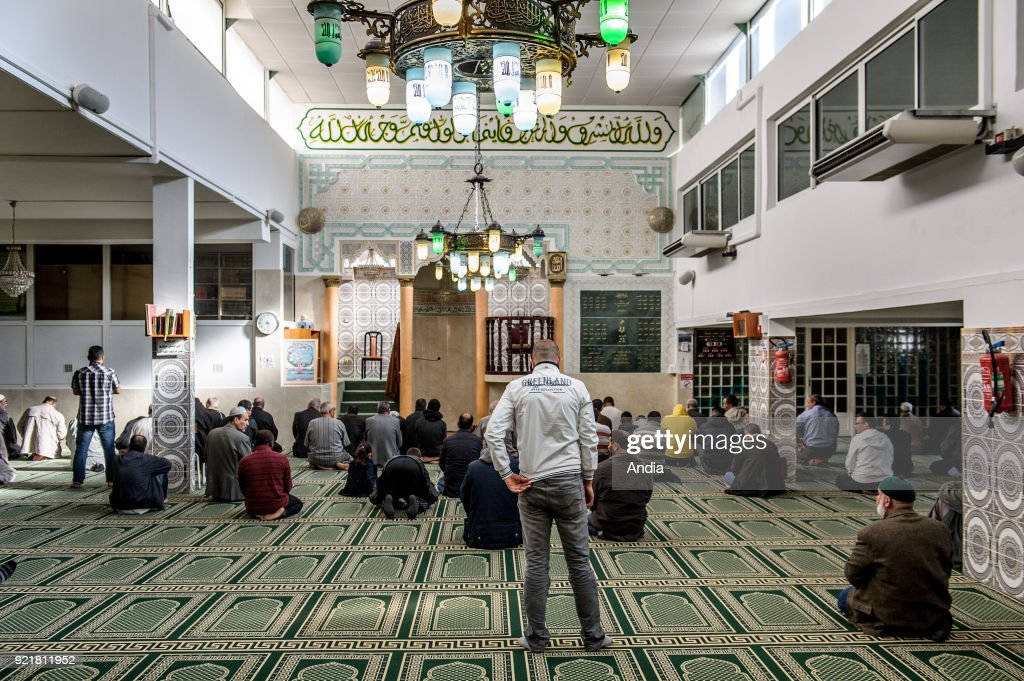 Nice (south eastern France, French Riviera): prayer room in the Al Rahma Mosque in the Ariane District. Muslim believers during a prayer.