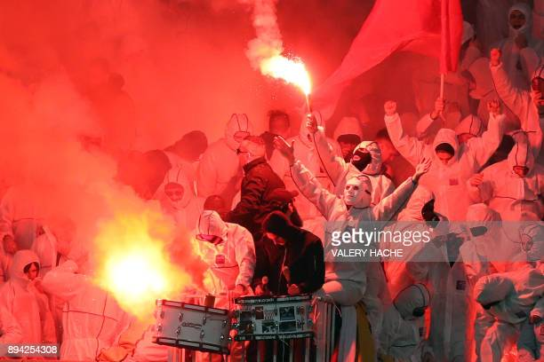 Nice supporters gesture during the French L1 football match Nice vs Bordeaux on December 17 2017 at the 'Allianz Riviera' stadium in Nice...