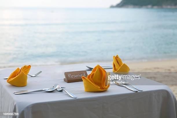 nice table with table cloth at the beach