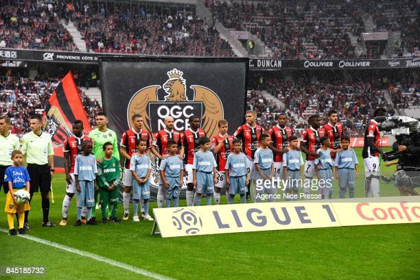 Nice team during the Ligue 1 match between OGC Nice and AS Monaco at Allianz Riviera on September 9 2017 in Nice