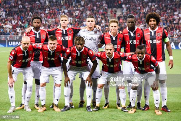 Nice team during the UEFA Champions League Qualifying PlayOffs round second leg match between OGC Nice and SSC Napoli at Allianz Riviera Stadium on...