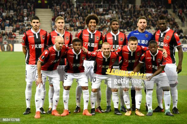 Nice team in line up during the Europa League match between OGC Nice and Lazio Roma at Allianz Riviera on October 19 2017 in Nice France