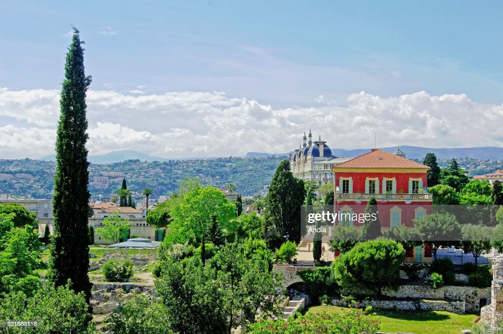 Nice (south eastern France, French Riviera): the Gallo-Roman ruins of Cimiez and Matisse Museum on the Cimiez hill. In the background, the Regina Palace Hotel.
