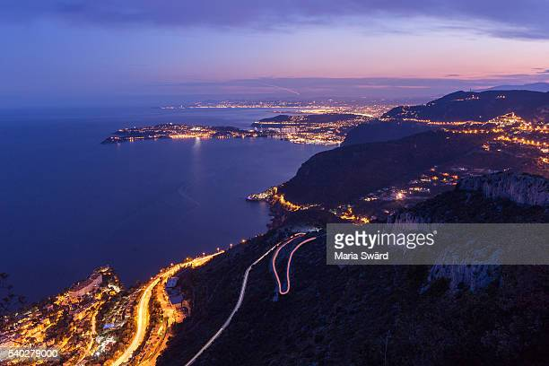 Nice (France) with Surroundings - Aerial View at Twilight
