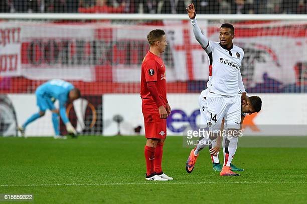 Nice's Alassane Plea celebrates after scoring during Europa League football match FC Salzburg v OGC Nice in Salzburg on October 20 2016 / AFP /...