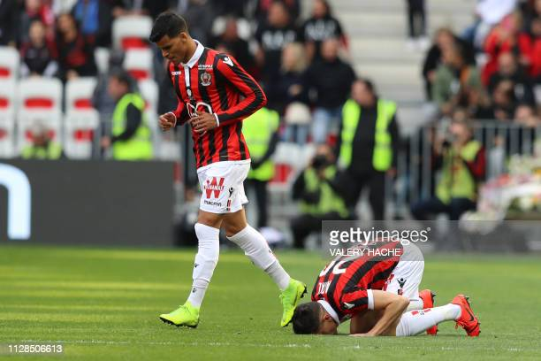 Nice's Algerian defender Youcef Atal celebrates after scoring a goal during the French L1 football match between Nice and Strasbourg on March 3 at...