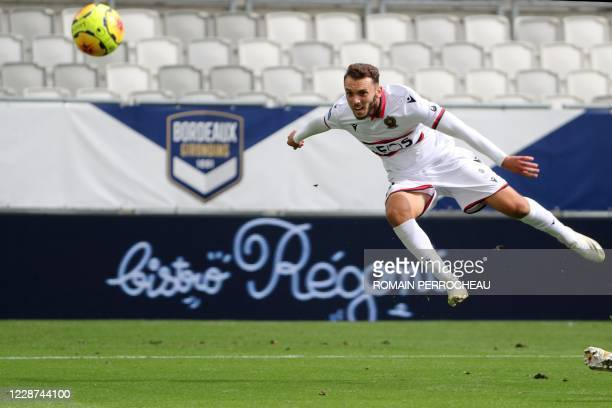 Nice's Algerian forward Amine Gouiri is seen in action during the French L1 football match between Bordeaux and Nice on September 27, 2020 at Matmut...