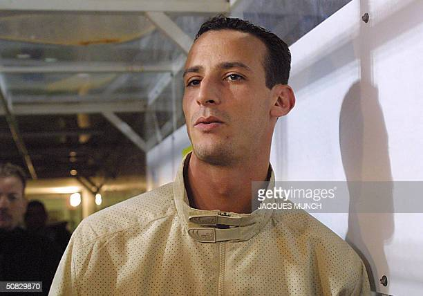 Nice's Algerian forward Malek Cherrad answers journalists' questions during the French L1 football match between Nice and Toulouse 12 April 2004 at...