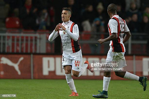 Nice's Algerian forward Said Benrahma celebrates after scoring a goal during the French L1 football match between Rennes and Nice on October 18 2015...