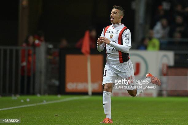 Nice's Algerian forward Said Benrahma celebrates after scoring during the French L1 football match between Rennes and Nice on October 18 2015 at the...