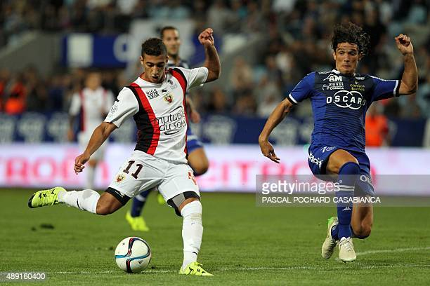 Nice's Algerian forward Said Benrahma scores a goal during the French L1 football match Bastia against Nice on September 19 2015 in the Armand Cesari...