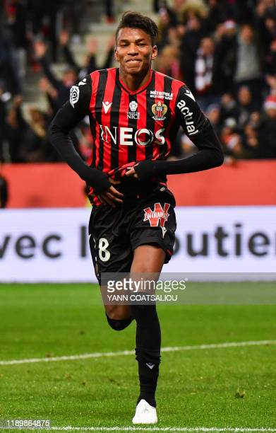Nice's Algerian midfielder Hichem Boudaoui celebrates after scoring a goal during the French L1 football match between OGC Nice and Toulouse FC at...