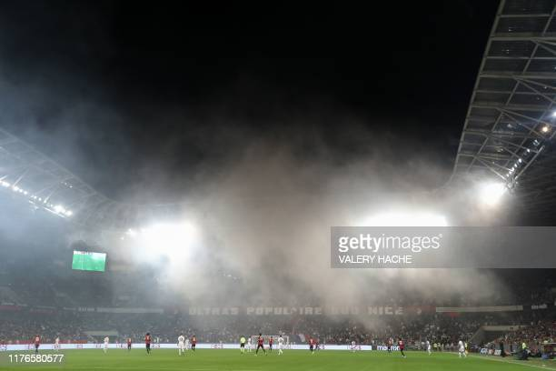 """Nice's and Paris Saint-Germain's player take part in the French L1 football match between OGC Nice and Paris Saint-Germain at """"Allianz Riviera""""..."""