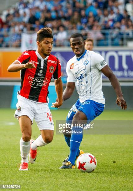 Nice's Bassem Srarfi and Gent's Anderson Esiti vie for the ball during a friendly football match between Belgian first league soccer team KAA Gent...