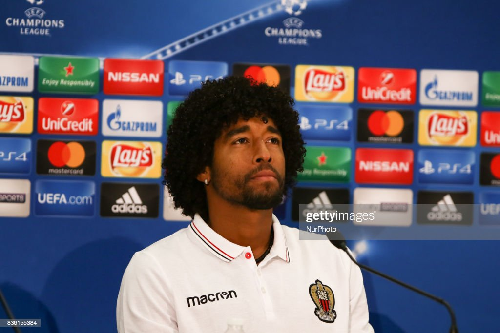Nice's Brazilian defender Dante speaks during a press conference at The Allianz Riviera Stadium in Nice, south-eastern France on August 21, 2017, on the eve of the UEFA Champions League football match between Nice and Naples.