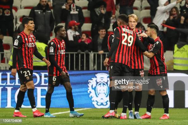 Nice's Danish forward Kasper Dolberg celebrates after scoring a goal during the French L1 football match Nice against Monaco on March 7 2020 at the...