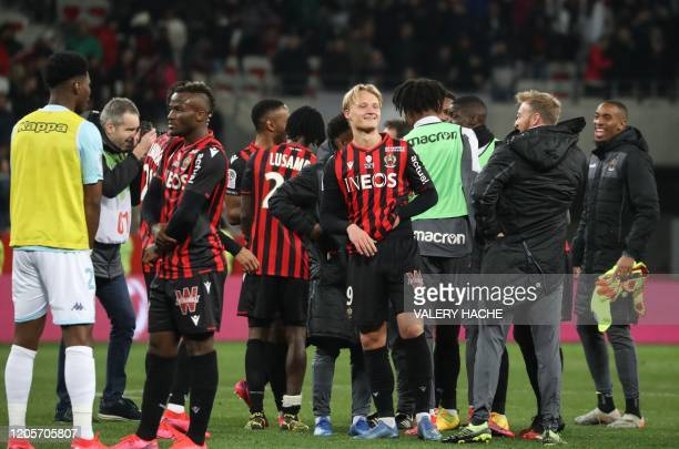 Nice's Danish forward Kasper Dolberg reacts at the end of the French L1 football match Nice against Monaco on March 7 2020 at the Allianz Riviera...