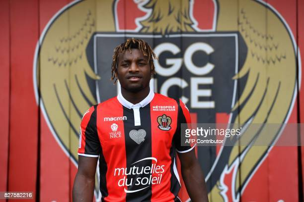 Nice's football club French midfielder Allan SaintMaximin new signing poses during a press conference on August 8 2017 at the Allianz Riviera stadium...