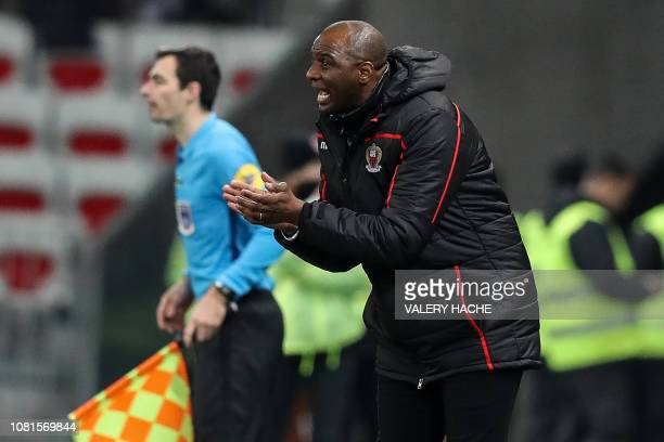 Nice's French coach Patrick Vieira gestures during the French L1 football match between Nice and Bordeaux at the Allianz Riviera stadium in Nice...