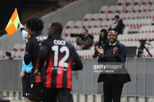 Nice's French coach Patrick Vieira gestures during the UEFA Europa League group C football match between Nice and Bayer Leverkusen at The Allianz...