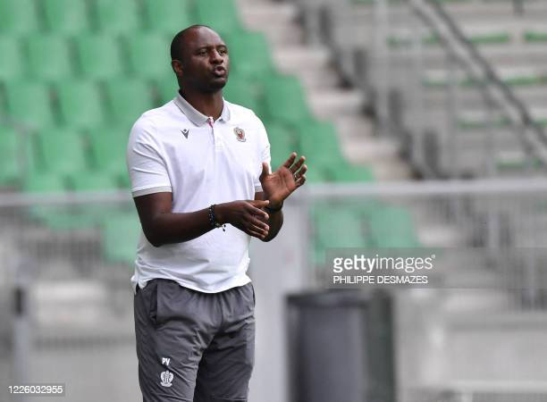 Nice's French coach Patrick Vieira reacts during the French L1 friendly football match between AS Saint-Etienne and OGC Nice on July 10, 2020 at the...