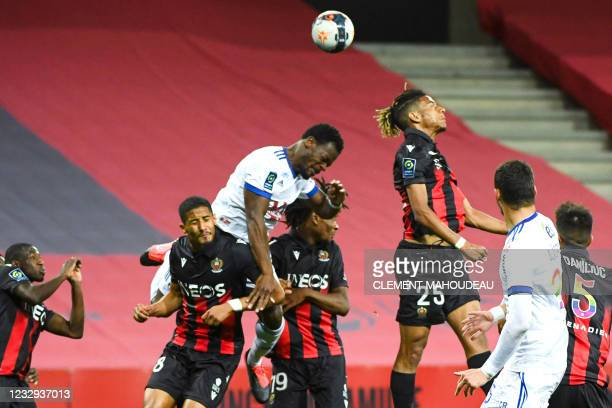 """Nices French defender Jean-Clair Todibo heads the ball during the French L1 football match between OGC Nice and Strasbourg at the """"Allianz Riviera""""..."""