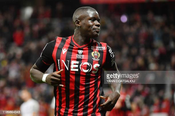 Nice's French defender Malang Sarr celebrates after scoring a goal during the French L1 football match between OGC Nice and Toulouse FC at the...