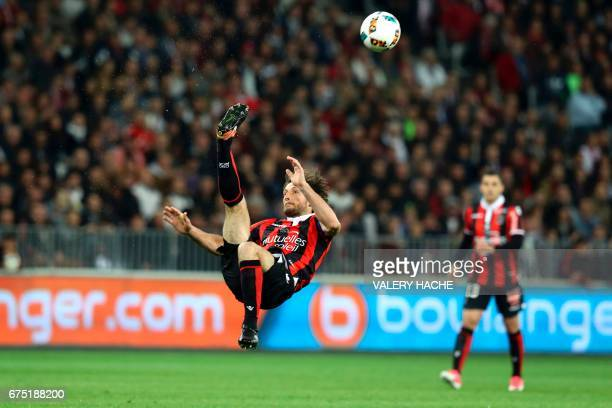 """Nice's French defender Paul Baysse reacts during the French L1 football match Nice vs Paris Saint Germain on April 30, 2017 at the """"Allianz Riviera""""..."""