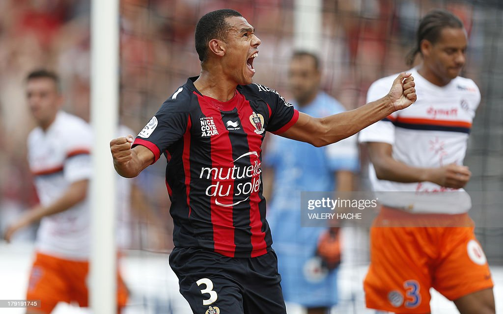 Nice's French defender Thimothee Kolodziejczak celebrates after scoring a goal during the French L1 football match between Nice and Montpellier on September 1, 2013 at the Ray stadium in Nice, southeastern France.