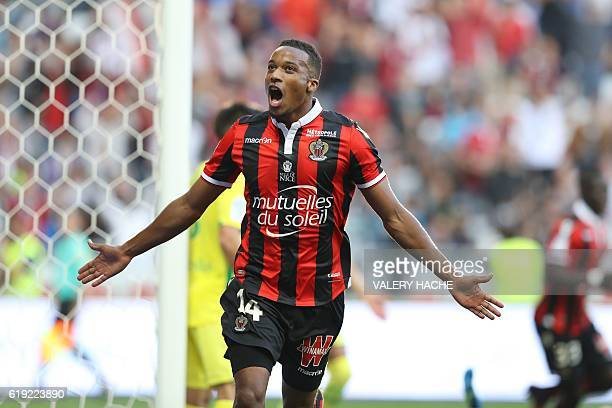 Nice's French forward Alassane Plea celebrates after scoring a goal during the French L1 football match Nice vs Nantes on October 30 2016 at the...