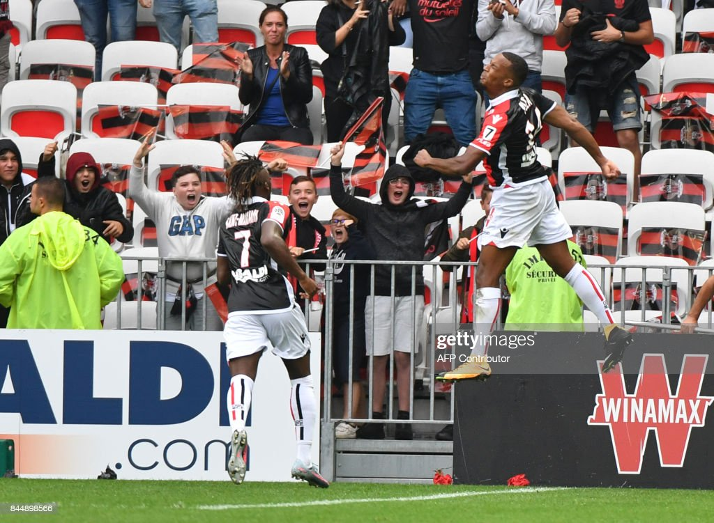 Nice's French forward Alassane Plea celebrates after scoring a goal during the French L1 football match Nice (OGCN) vs Monaco (ASM) on September 9, 2017 at the 'Allianz Riviera' stadium in Nice, southeastern France. COATSALIOU