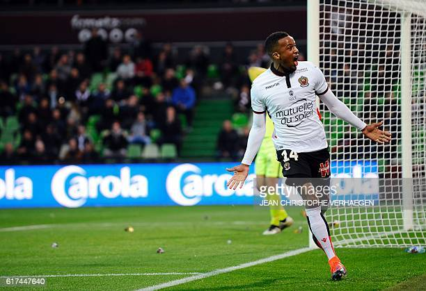 Nice's French forward Alassane Plea celebrates after scoring a penalty during the French L1 football match between Metz and Nice on October 23 2016...