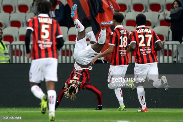 Nice's French forward Allan SaintMaximin celebrates after scoring during the French L1 football match between Nice and Bordeaux at the 'Allianz...