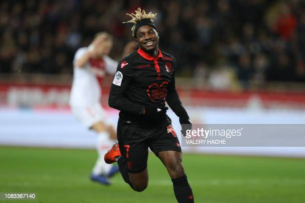 Nice's French forward Allan SaintMaximin celebrates after scoring during the French L1 football match between AS Monaco and OGC Nice at the Louis II...