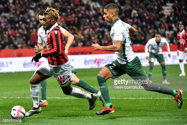 Nice's French forward Allan SaintMaximin controls the ball during the French L1 football match between Nice and Saint Etienne at the Allianz Riviera...